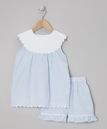 Blue Yoke Tunic & Shorts - Toddler & Girls