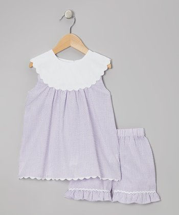 Purple Yoke Tunic & Shorts - Toddler & Girls