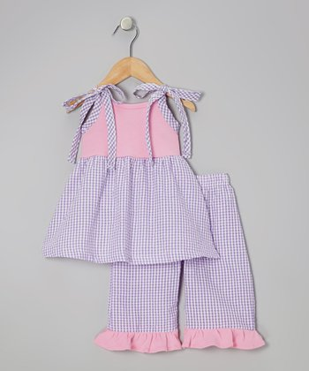 Pink & Purple Tunic & Capri Pants - Toddler & Girls