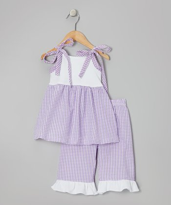 White & Purple Tunic & Capri Pants - Toddler & Girls