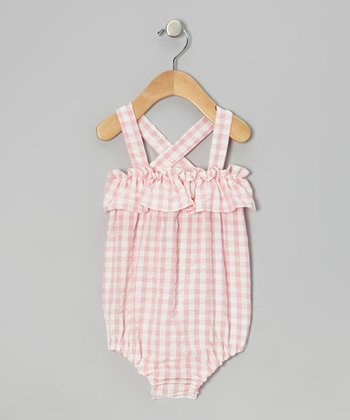 Light Pink & White Sophie Bubble Sunsuit - Infant