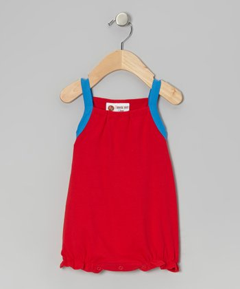 Red & Blue Ruffle Bubble Sunsuit - Infant & Toddler