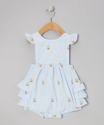 Light Blue Sailboat Ruffle Bubble Sunsuit - Infant & Toddler
