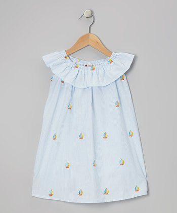 Light Blue Sailboat Dress - Toddler & Girls