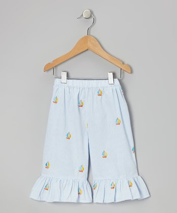Light Blue Sailboat Ruffle Capri Pants - Toddler & Girls