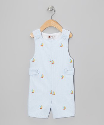 Light Blue Sailboat Shortalls - Infant