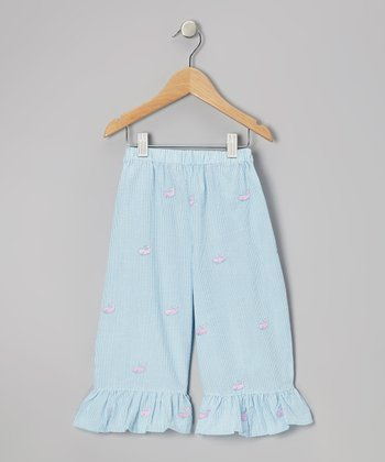 Blue Whale Ruffle Capri Pants - Girls