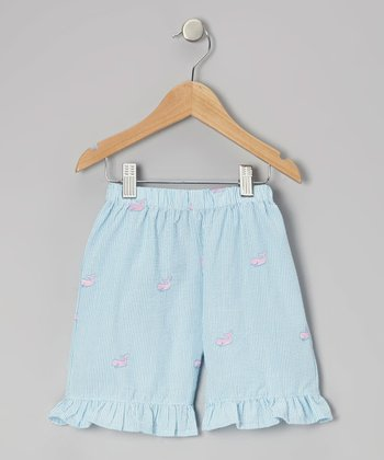 Blue Whale Ruffle Shorts - Toddler & Girls