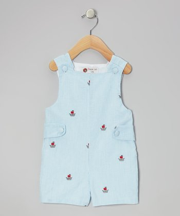 Blue Pirate Ship Shortalls - Infant