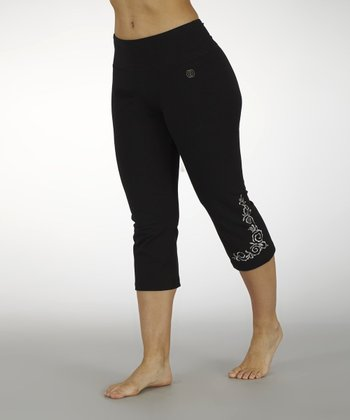 Black Metallic-Embellished Capri Pants