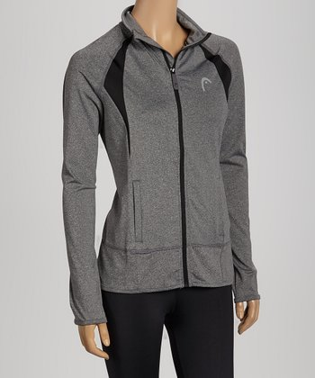 Heather Charcoal & Black Rebel Zip-Up Jacket