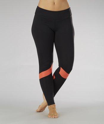 Black & Sizzling Coral Runner Leggings - Women