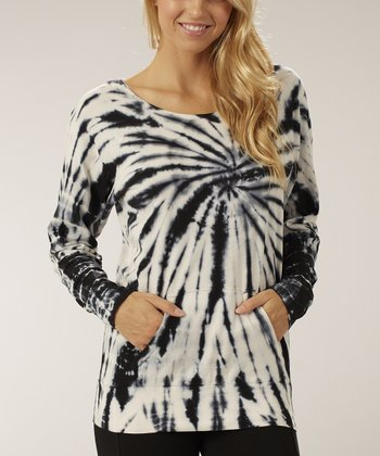 Black & White Tie-Dye Long-Sleeve Top
