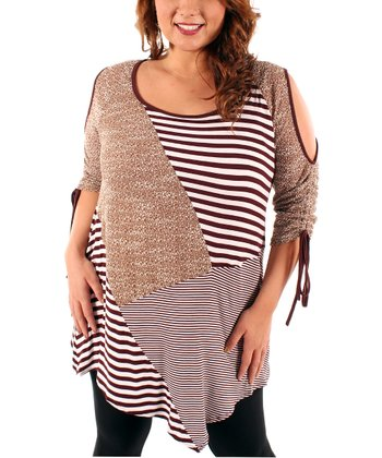 Brown Cutout Tunic - Plus