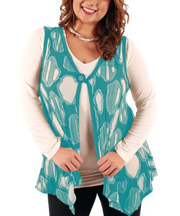 Teal Abstract Vest - Plus