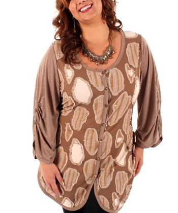 Mocha Abstract Button-Up - Plus