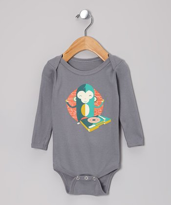 Asphalt DJ Monkey Monk Organic Long-Sleeve Bodysuit - Infant