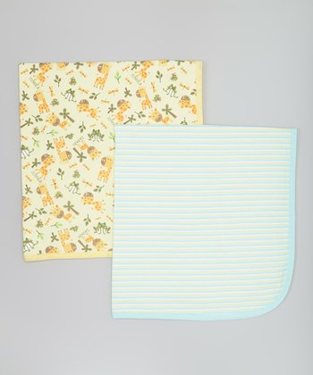 Yellow Giraffe & Light Blue Stripe Stroller Blankets Set
