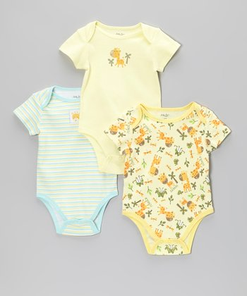 Yellow Giraffe & Light Blue Stripe Bodysuits Set