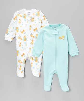 White Giraffe Dream & Light Blue Footie Set