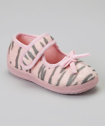 Light Pink & Zebra Animal Mary Jane Slipper