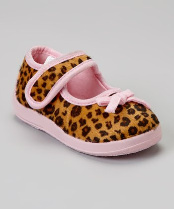 Leopard & Light Pink Animal Mary Jane Slipper