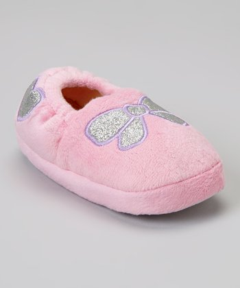 Light Pink Glitter Bow Slipper