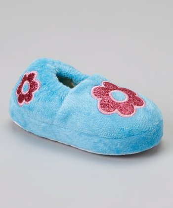 Light Blue Glitter Flower Slipper