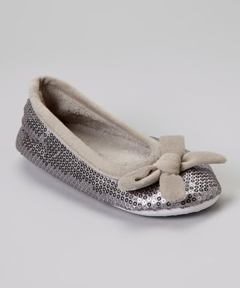 Silver Bow Sequin Plush Ballet Slipper