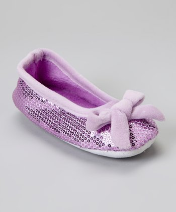 Purple Bow Sequin Plush Ballet Slipper