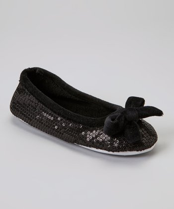 Black Bow Sequin Plush Ballet Slipper