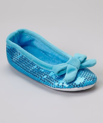 Turquoise Bow Sequin Plush Ballet Slipper