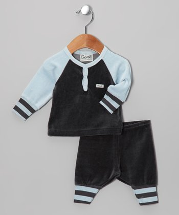 Charcoal & Blue Velour Pajama Set - Infant