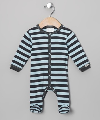 Blue & Charcoal Stripe Footie - Infant