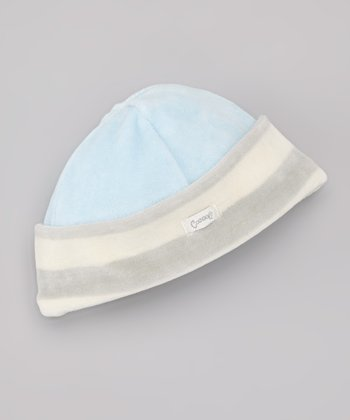 Blue & Gray Stripe Velour Beanie