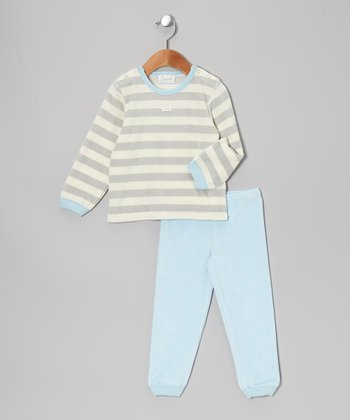 Gray & Blue Stripe Velour Pajama Set - Infant