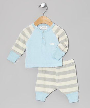 Blue & Gray Stripe Velour Top & Bottoms - Infant