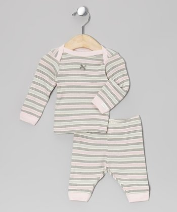 Gray & Pink Stripe Pajama Set - Infant