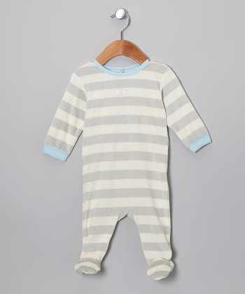 Gray & Blue Stripe Velour Footie - Infant