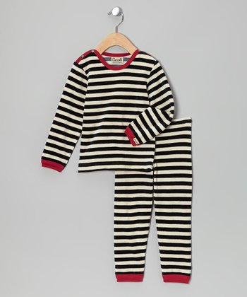 Navy & Red Stripe Pajama Set - Infant, Toddler & Kids