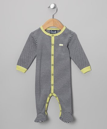 Navy & Lime Footie - Infant