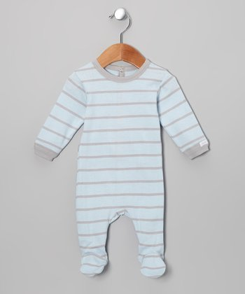 Blue & Brown Stripe Footie - Infant