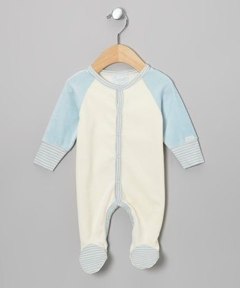 Blue & Ivory Velour Footie - Infant