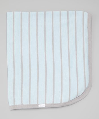Blue & Gray Stripe Stroller Blanket