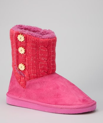 Fuchsia Button Boot