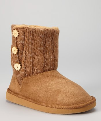Tan Button Boot