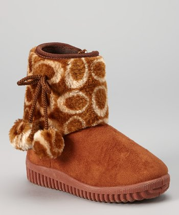 Brown Oval Pom-Pom Boot