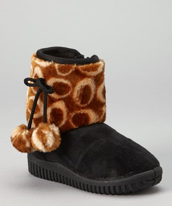 Black Oval Pom-Pom Boot