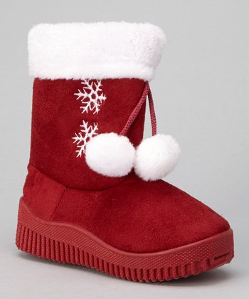 Red Snowflake Pom-Pom Boot