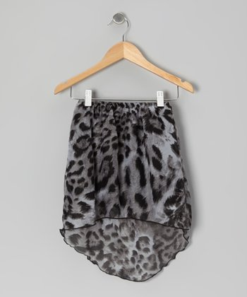 Black & Gray Leopard Chiffon Hi-Low Skirt